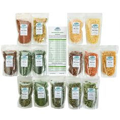 The Vegetable Sampler contains our exclusive resealable one cup zip pouch size (15 total) of the following premium vegetables: Broccoli Flowerets 🥦, Green Cabbage, Diced Carrots 🥕, Sliced Celery, Whole Sweet Corn 🌽, Green Beans, Jalapeno Dices, Tangy Green & White Leeks, Chopped White Onions, Green Sweet Peas, Red & Green Bell Pepper Mix, Diced Potatoes 🥔, Spinach Flakes, Tomato Dices 🍅, Tomato Powder. Try 'em all the easy way by ordering this amazing sampler! Diced Carrots, Diced Potatoes, Dehydrated Vegetables, White Onion, Green Bell Peppers, Green Cabbage, Sweet Peas, Sweet Corn, Camping Meals