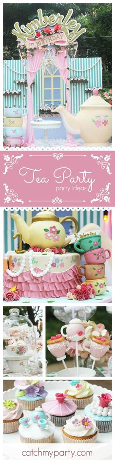 You will not want to miss this stunning Tea Party! Just look at the birthday cake! Amazing!! See more party ideas at http://CatchMyParty.com