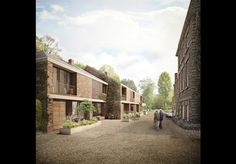 Duggan Morris wins go-ahead for 'new concept for retirement living' Social Housing Architecture, Co Housing, Brick Architecture, Architecture Visualization, Sustainable Architecture, Brick Rendering, Duggan Morris, Modern Townhouse, Arch House