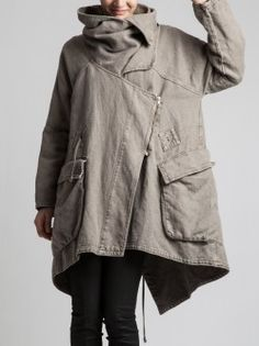 VERY THICK RUSTIC COTTON COAT WITH POLAR LINING