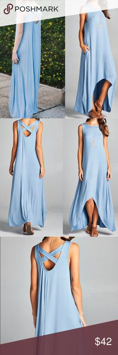 """Sleeveless criss cross back hi low maxi dress Features: Asymmetrical hem MADE IN USA super comfy ,soft & stretchy Criss cross back, 95% rayon, 5% spandex  Measurements:  S: Pit to Pit: 18"""", Bust upto 36"""" Length front & back (apprx low & hi ): 38"""" & 58""""  M: Pit to pit: 19"""", Bust upto 38"""" Length front & back (apprx low & hi ): 38.5"""" & 58.5""""  L: pit to pit: 20"""", Bust upto 40"""" Length front &!back (apprx low & hi point): 39"""" & 59""""  XL: pit to pit: 21"""", Bust upto 42"""" Length front & back (apprx…"""