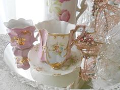 Antique German Pink Cups set 2 Rose Floral Gold Vintage dish Shabby Chic Christmas French Marie Antoinette Victorian   SCT on Etsy, $45.56 AUD