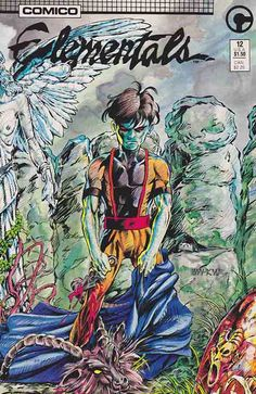 Elementals v1 #12. Monolith goes through some terrifying dreams after a L.A.W.'s rocket put a hole in him in Halflife. Script by Bill Willingham and art by Bill Willingham & Keith Wilson. Wraparound cover.
