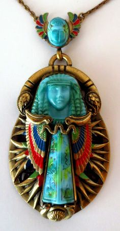 Art Deco MAX & NORBERT NEIGER CZECH Large Enamel Egyptian Revival NECKLACE, Barbara Jones Collection