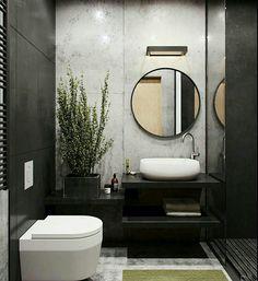 Pared porcelanato blanco detrás del lavabo y en las paredes de inodoro porcelanato negro