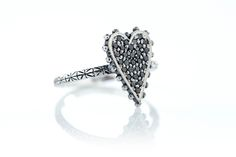 Strong heart ring! Black diamonds full pavé with studs! #diamonds #jewels #ottojewels