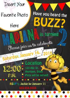 Maya the Bee 5x7 Birthday Party Chalkboard by KiddiePartyCreations