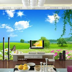 Natural scenery Wallpaper Custom 3D Wall Mural Blue Sky Photo wallpaper Kids Bedroom Livingroom Room decor Art Interior Design