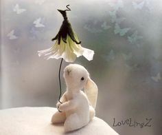 Felt mini bunny with flower umbrella <3 by LoveLingZ