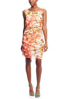 ideel - CONNECTED:  Coral Sleeveless Floral Layered Dress...$34.99  - Sleeveless dress  - Round neckline  - Features tiered bodice  - Allover floral print design  - Pullover style  - Lined BozBuys  Budget Buyers Best Brands! ejewelry & accessories...online shopping http://www.BozBuys.com
