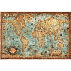 Modern World Antique Map also really beautiful map.