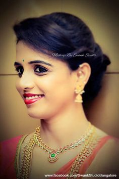 Our client Savitha is all dolled up for her special occasion. Makeup and hairstyle by Swank Studio. Red lips. Silk Saree. Gold jewellery. Saree blouse design. Hairstyle. Find us https://www.facebook.com/SwankStudioBangalore