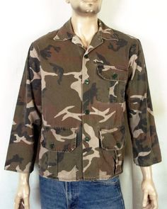 6b4dd83a031bf vtg Winchester men's Button Front Camo Camouflage Hunting Shirt Jacket sz S  #Winchester #ButtonFront