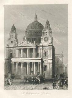 Die St. Paulskirche in London. Stahlstich-Ansicht mit Kutsche und Personenstaffage.