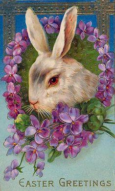 Vintage Easter Greetings postcard ~ made in Germany circa Images Vintage, Vintage Cards, Vintage Postcards, Easter Art, Easter Crafts, Easter Bunny, Vintage Easter, Vintage Holiday, Art Carte