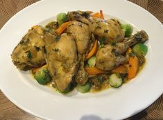 Stewed chicken with saffron and thyme and baked butternut nut squash and brussel sprouts