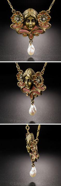Art Nouveau Style Plique a Jour Enamel Necklace http://www.langantiques.com/vintage-jewelry/art-nouveau-jewelry/art-nouveau-style-plique-a-jour-enamel-necklace.html