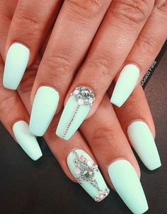 Dimonds Nails Image Description What S The Best Way To Make Your Matte Mint Green Look Even More Better Adding Patterns Of Gold Beads And Diamonds