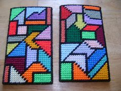 eyeglass cases. This show front and back of them using my church window/quilt pattern