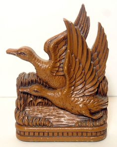 Vintage Durwood Flying Ducks Book Ends John Walter & Sons Kitchener Ontario 1940