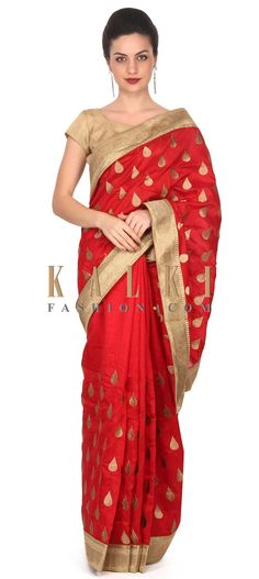 Buy this  Maroon silk saree with weave embroidery only on Kalki
