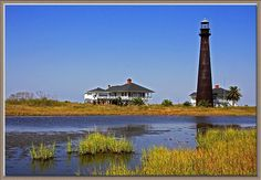Bolivar lighthouse.  I pass this every time I have to cross on the ferry over to Galveston which is at least once a week.