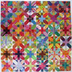 36 x and + blocks using mostly kaffe fasset and martha negley fabrics. Gorgeous!