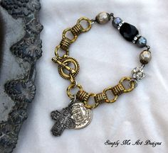 Vintage Cross Baroque Pearl Gemstone and Brass by simplymeart
