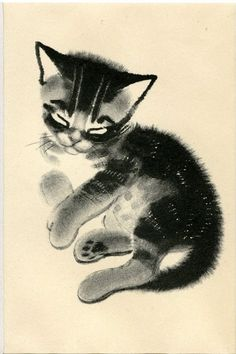 Matted Kitten Print by Clare Turlay Newberry C. 1943 Vintage Decor Sketch Illustration - Tap the link now to see all of our cool cat collections! Art And Illustration, Illustrations, Memes Arte, Oriental Cat, Cat Drawing, Anime Comics, Beautiful Cats, Crazy Cats, Animal Drawings