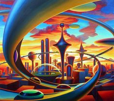 New science fiction sci fi retro futurism ideas Arte Sci Fi, Sci Fi Art, Futuristic City, Futuristic Architecture, Architecture Art, Art Science Fiction, Pulp Art, Future City, Retro Art