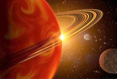 This artists concept shows a view of a Saturn-sized planet orbiting 79 Ceti.
