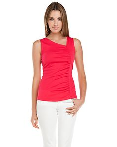 Lilla P Azaela Pima Cotton Asymmetrical Tank Top