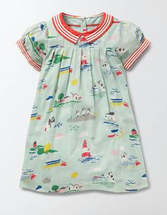Light and breezy, our nostalgic smock dress is great for sunny days. The lightweight cotton means you'll be cool and comfortable, whether you're at the seaside or enjoying an ice cream in the park. And we've added fun stripes to the sleeves and collar to make it super pretty too.