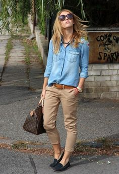 camisa de denim +boyfriend color