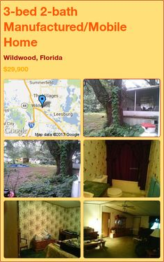 3-bed 2-bath Manufactured/Mobile Home in Wildwood, Florida ►$29,900 #PropertyForSale #RealEstate #Florida http://florida-magic.com/properties/4892-manufactured-mobile-home-for-sale-in-wildwood-florida-with-3-bedroom-2-bathroom