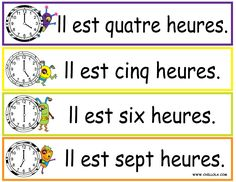 FREE ~ French Printouts for Children ~ Worksheet Time ~ Time in French ~ Available in Spanish, French, German, Italian and English. Visit www.chillola com or  follow us: http://pinterest.com/chillolacom/boards/