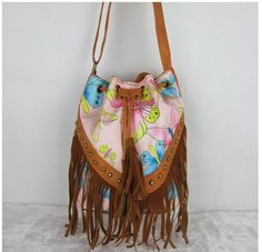 Drawstring Bucket Bag Faux Fringe Tassel Shoulder Bag Boho Style
