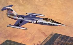 Lockheed XF-104 Starfighter 53-7786, the first prototype, in flight near Edwards AFB. (U.S. Air Force)