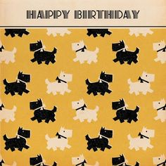 Happy Birthday - retro Scottie dogs
