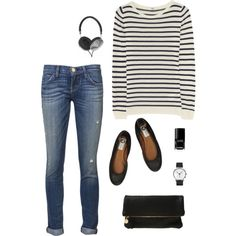 A fashion look from June 2013 featuring merino sweater, ripped skinny jeans and leather ballet flats. Browse and shop related looks.
