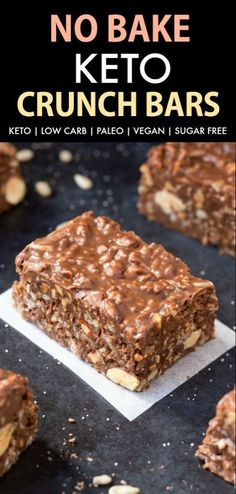 Food Low Carb Homemade No Bake Keto Chocolate Crunch Bars (Paleo, Vegan, Sugar Free, Low Carb)- An easy recipe for copycat crunch bars with a ketosis and sugar-free makeover! The ultimate ketogenic dessert recipe ready in 5 minutes! Sugar Free Desserts, Low Carb Desserts, Healthy Dessert Recipes, Easy Desserts, Gourmet Recipes, Low Carb Recipes, Paleo Recipes, Healthy Candy, Healthy Foods