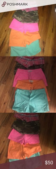 Whoau shorts multiple colors Lot of 5 shorts green, orange,hot pink , camouflage and plaid 4 shorts are a size 26 and one size 27 whoau Shorts