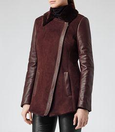 *** Tammy Burgundy Shearling Leather Jacket - REISS