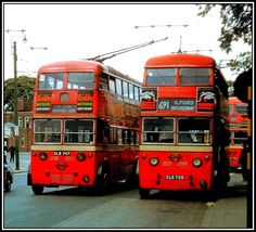 Trolleybuses SA3 class 1747 and SA2 class 1739, 2 of 43 vehicles that were destined for South Africa but were diverted to London when the Second World War prevented their shipment.