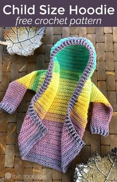 Crochet Clothes Child Size Hoodie free crochet pattern - A free toddler hoodie cardigan pattern? Even sweeter, add a horn and some hair with this pattern and turn it into a unicorn! Crochet Girls, Crochet Baby Clothes, Crochet For Kids, Free Crochet, Knit Crochet, Ravelry Crochet, Mandala Crochet, Crotchet, Simply Crochet