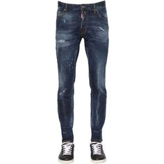 Dsquared2 Men 16.5cm Cool Guy Piercing Denim Jeans (14,305 DOP) ❤ liked on Polyvore featuring men's fashion, men's clothing, men's jeans, blue, mens blue jeans, mens jeans, mens destroyed jeans, mens ripped jeans and mens faded jeans