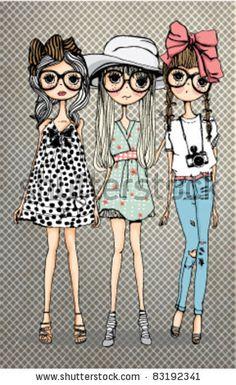 """friendly girl illustration -best friends---Bellos ojos, mas bellos si ven bien. Controlate cada año. Lee en nuestro blog """"Descansar frentea la PC """" y otros"""