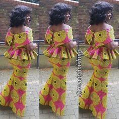 Hello ladies check out latest creative peplum ankara skirt and blouse styles vol. 5 to rock for your next occassion. African Dresses For Women, African Print Dresses, African Print Fashion, Africa Fashion, African Attire, African Fashion Dresses, African Wear, African Women, Fashion Prints
