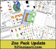 Free Zoo Pack Update! Over 70 pages added to the original pack. For ages 2 to 8 - 3Dinosaurs.com