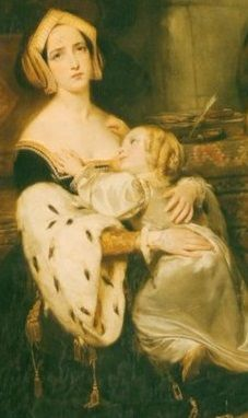 """Anne Boleyn Says a Final Goodbye to her Daughter, Princess Elizabeth"" by Gustaf Wappers, 1838. A fictional last meeting between mother and daughter in the Tower. In reality, Anne last saw her daughter in January 1536, when Henry summoned his daughter to court to celebrate the death of Katharine of Aragon. Anne parted with her daughter for the last time unaware the goodbye was final."